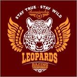Leopardi - l'abitudine va in automobile il logo di vettore della maglietta del club su fondo scuro Maglietta premio del logotype  Immagine Stock