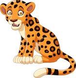 Leopardo de la historieta aislado en el fondo blanco Foto de archivo