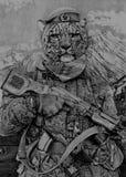 Leopardo delle nevi in uniforme Le mie matite del disegno Fotografia Stock Libera da Diritti
