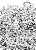 Leopardo in giungla illustrazione vettoriale