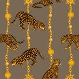 Leopardos, cadenas de oro y colgantes libre illustration