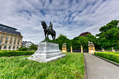 Leopold II Statue - Brussels, Belgium. Equestrian statue of Leopold II, the second King of the Belgians, on Place du Trone sculptor Thomas Vincotte Stock Images