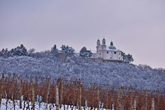 Leopoldsberg covered in snow royalty free stock photography
