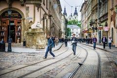 Leopoli - il centro storico dell'Ucraina Fotografie Stock Libere da Diritti