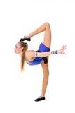 Leotardo azul que se resuelve, baile del bailarín del gimnasta que lleva del adolescente hermoso del atleta, haciendo ejercicio A Imagenes de archivo