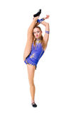 Leotardo azul que se resuelve, baile del bailarín del gimnasta que lleva del adolescente hermoso del atleta, haciendo ejercicio A Fotografía de archivo libre de regalías