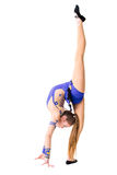 Leotardo azul que se resuelve, baile del bailarín del gimnasta que lleva del adolescente hermoso del atleta, haciendo ejercicio A Imagen de archivo libre de regalías