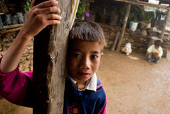 Lepcha boys and hen family Royalty Free Stock Images
