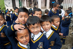 Lepcha Students at School Royalty Free Stock Photos