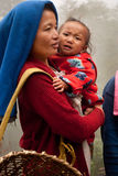Lepcha Woman with baby Stock Images