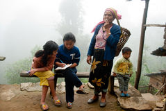 Lepcha Woman with children royalty free stock image