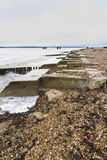 Lepe Beach – launch site for WWII Mulberry Harbours. Concrete remains of phoenix breakwater caissons. Lepe Beach, Hampshire, England, United Kingdom Stock Image