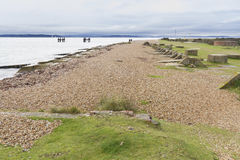 Lepe Beach – launch site for WWII Mulberry Harbours. Concrete remains of phoenix breakwater caissons. Lepe Beach, Hampshire, England, United Kingdom Royalty Free Stock Photos