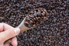 Lepel donkere geroosterde koffiebonen Royalty-vrije Stock Afbeelding