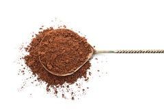 Lepel met cacaopoeder royalty-vrije stock foto's
