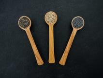 Lepel met zaden Stock Foto