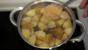 Lepel van rietsuiker in compote stock videobeelden