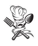 Lepel, vork en chef-kok stock illustratie