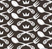 Lepel, vork en kroon Royalty-vrije Stock Afbeeldingen