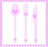 Lepel, vork en messenillustraties met harten Royalty-vrije Stock Afbeeldingen