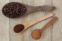 Lepels met koffie Royalty-vrije Stock Fotografie