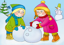 Lepiat. Two little girls snowball and makes snowman Stock Photo