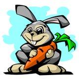 Lepre con l'illustrazione di vettore della carota Fotografia Stock Libera da Diritti