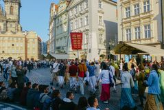 Lepre Krishna Festival a Praga fotografie stock libere da diritti