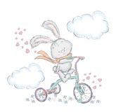 Lepre sveglia su una bicicletta Coniglietto nel vettore Carta dell'innamorato Immagini Stock Libere da Diritti