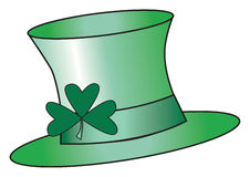 Leprechan Hat. Green top hat with a shamrock attached vector illustration