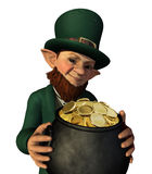 Leprechan Holding a Pot of Gold Royalty Free Stock Photo
