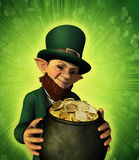 Leprechan Holding a Pot of Gold Stock Image