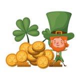 Leprechaun με το νόμισμα και απομονωμένο το τριφύλλι εικονίδιο διανυσματική απεικόνιση