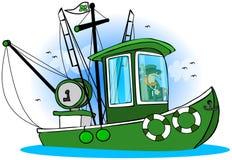 leprechaun рыболовства шлюпки иллюстрация вектора
