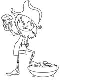 Leprechaun. Black and white drawing representing drinking leprechaun Royalty Free Stock Photo