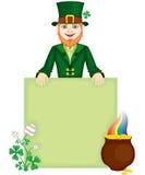 Leprechaun. The leprechaun with congratulatory sign, clover flower and pot of gold stock illustration