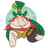 Leprechaun. With a pot of gold Royalty Free Stock Image