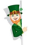 Leprechaun. The leprechaun with congratulatory sign royalty free illustration