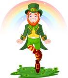 Leprechaun afortunado del baile del día del St. Patrick Foto de archivo libre de regalías