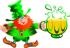 Leprechaun artful gnome. Illustration of artful gnome in a green frock coat with a beer mug. Isolated on white background Stock Photography