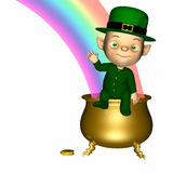 Leprechaun Baby. A  sitting on his pot of gold. Isolated on a white background stock image