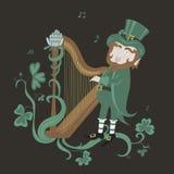 Leprechaun bawić się śpiew i harfę Zdjęcie Royalty Free