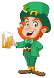 Leprechaun with beer. Illustration of a happy leprechaun with beer Stock Photos
