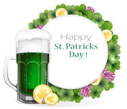 Leprechaun beer with coins and clover Stock Images