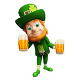 Leprechaun with beer glass for st. patrick's day Royalty Free Stock Photography