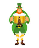 Leprechaun and beer. Good leprechaun keeps two mugs of beer.  Stock Photos
