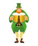 Leprechaun and beer. Good leprechaun keeps two mugs of beer.  Stock Photos