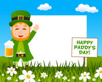 Leprechaun with Beer Horizontal Frame Stock Images
