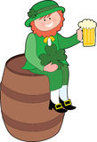 Leprechaun on a Beer Keg. Leprechaun sitting on a beer keg with a beer Royalty Free Stock Photos