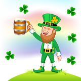 Leprechaun with beer mug Stock Photography
